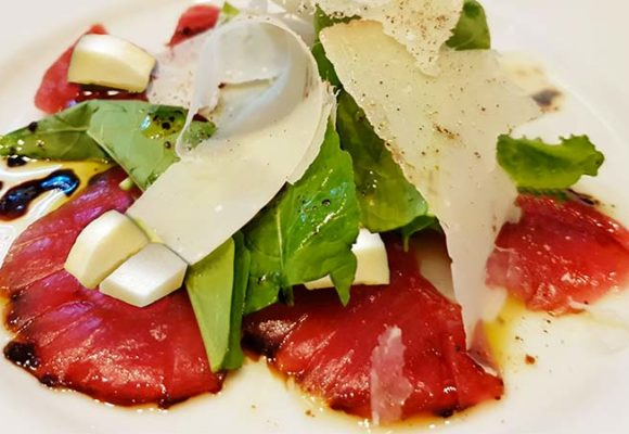 Carne Salada carpaccio with apple and walnuts